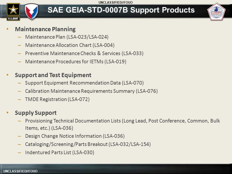 SAE GEIA-STD-0007B Support Products