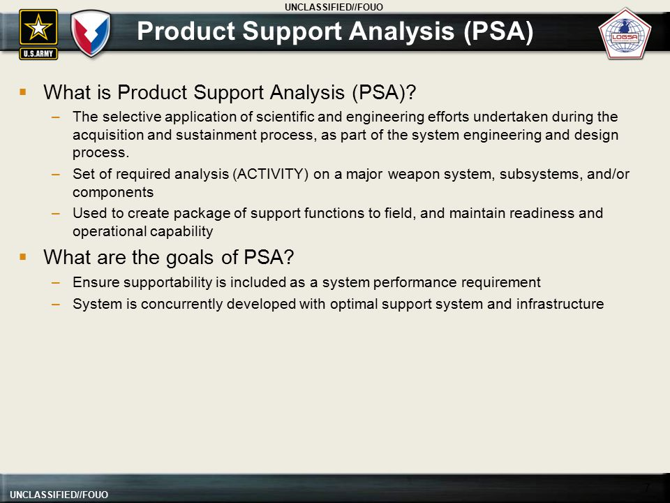 Product Support Analysis (PSA)