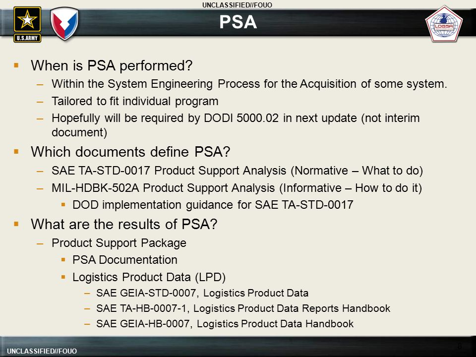 PSA When is PSA performed Which documents define PSA