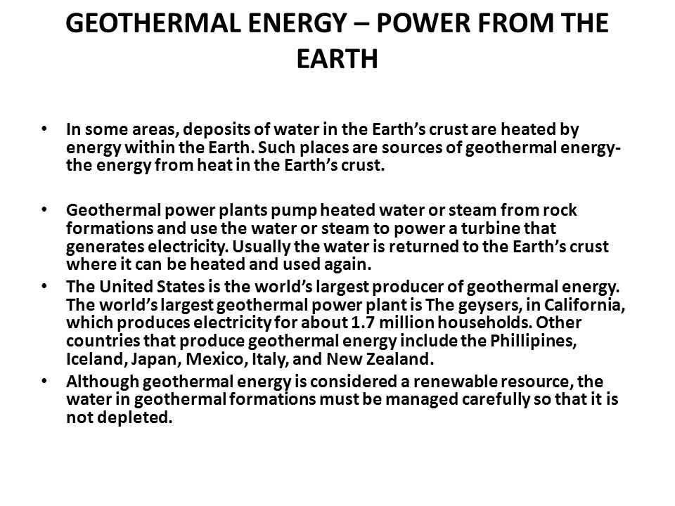 GEOTHERMAL ENERGY – POWER FROM THE EARTH