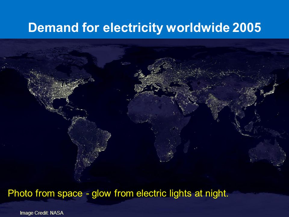 Demand for electricity worldwide 2005