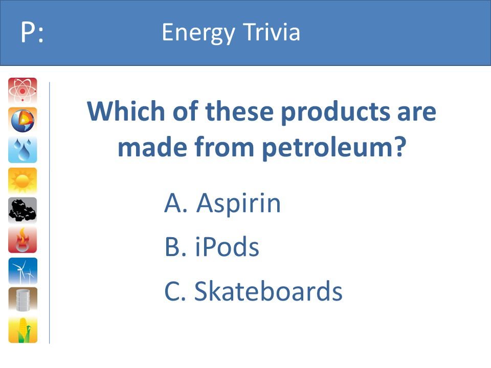 Which of these products are made from petroleum