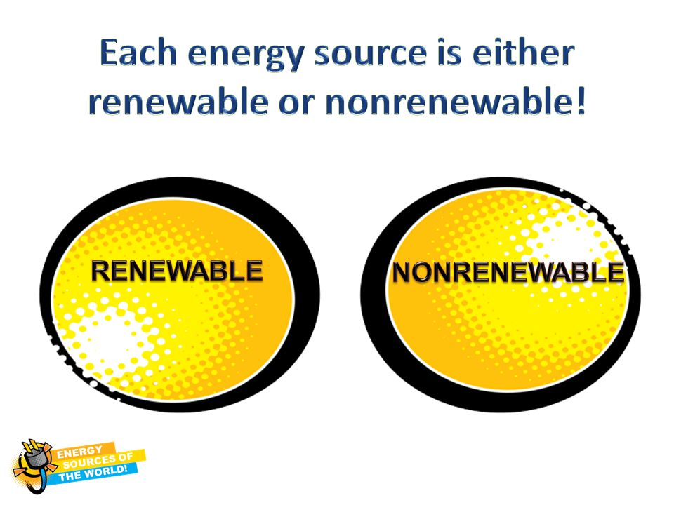 Each energy source is either renewable or nonrenewable!