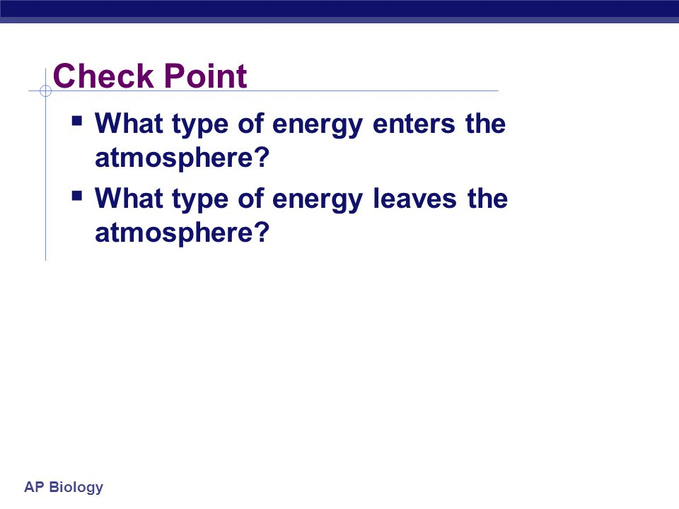 Check Point What type of energy enters the atmosphere