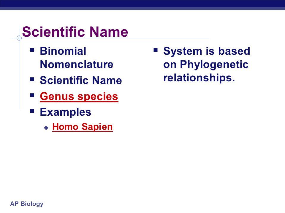 Scientific Name Binomial Nomenclature Scientific Name Genus species