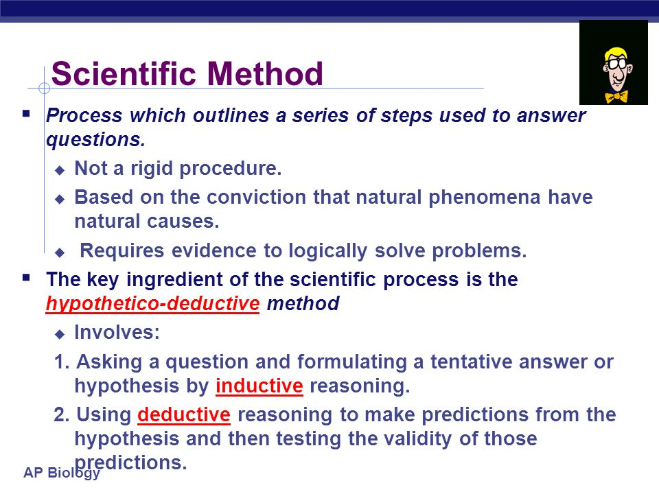 Scientific Method Process which outlines a series of steps used to answer questions. Not a rigid procedure.