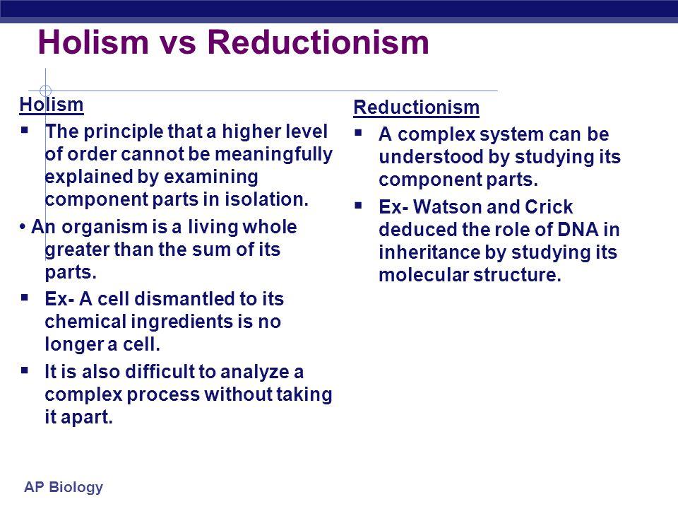 Holism vs Reductionism
