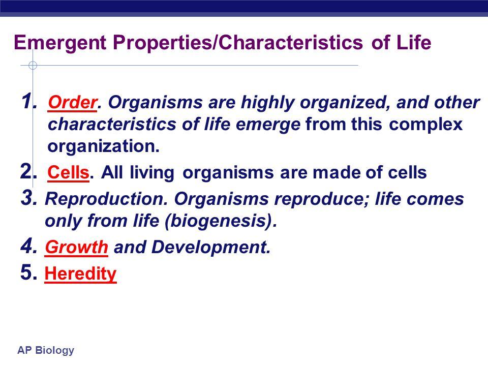 Emergent Properties/Characteristics of Life