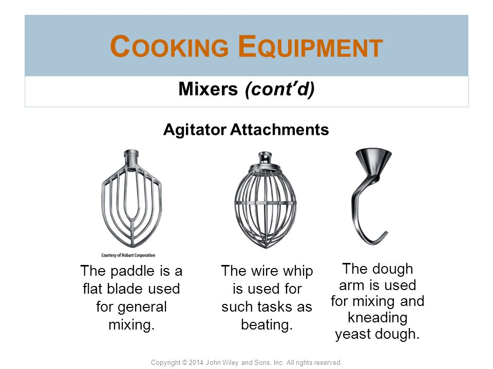 Cooking Equipment Mixers (cont'd) Agitator Attachments