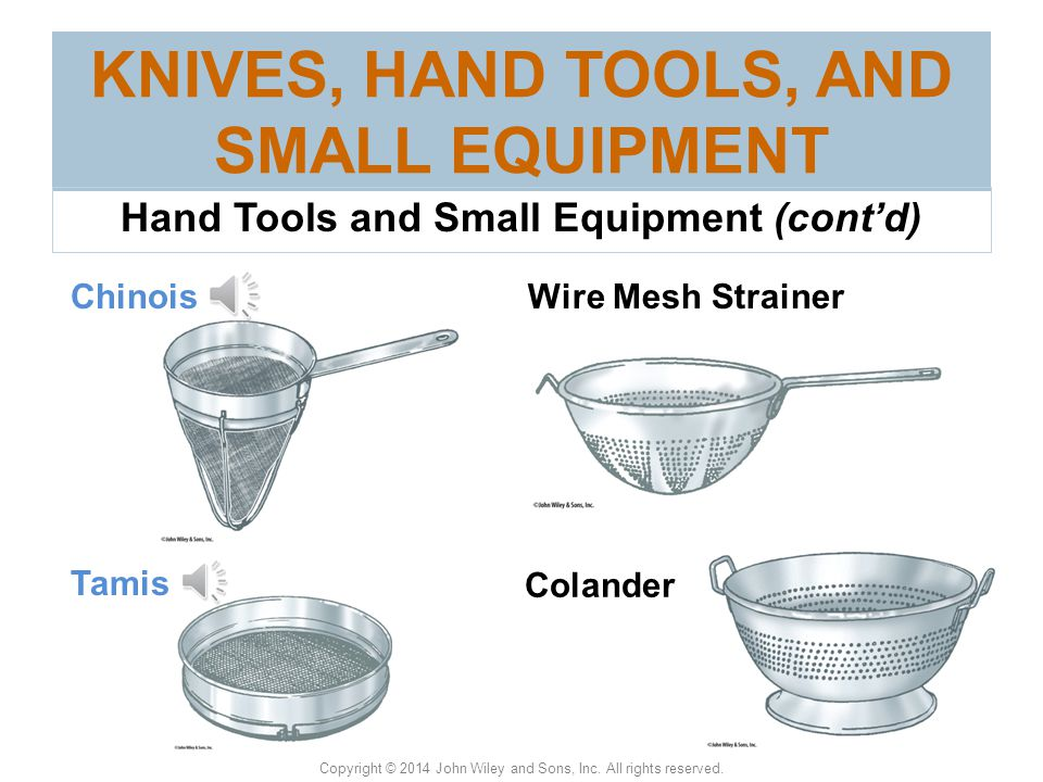 KNIVES, HAND TOOLS, AND SMALL EQUIPMENT