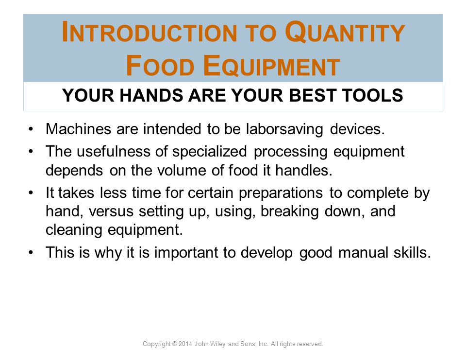 Introduction to Quantity Food Equipment