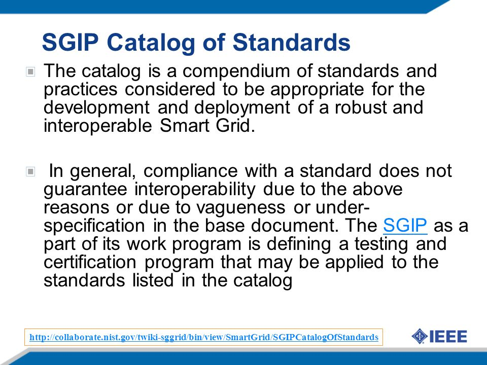 SGIP Catalog of Standards