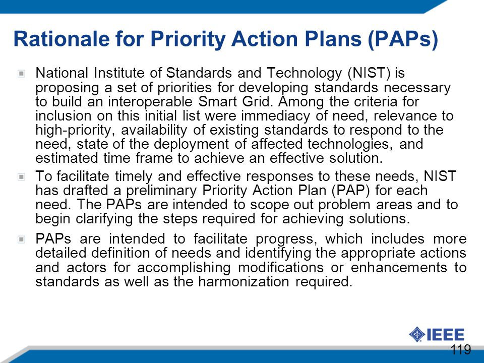 Rationale for Priority Action Plans (PAPs)