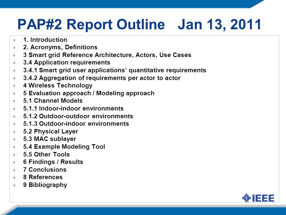 PAP#2 Report Outline Jan 13, 2011