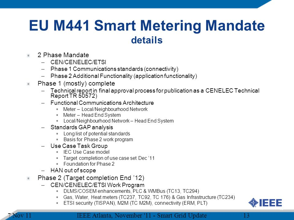 EU M441 Smart Metering Mandate details