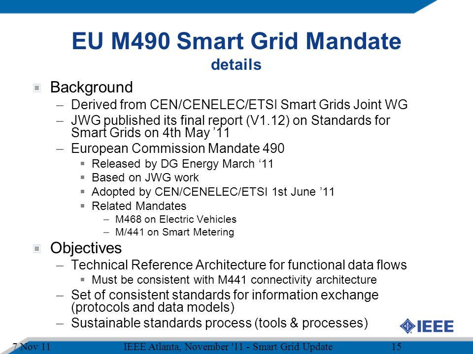 EU M490 Smart Grid Mandate details