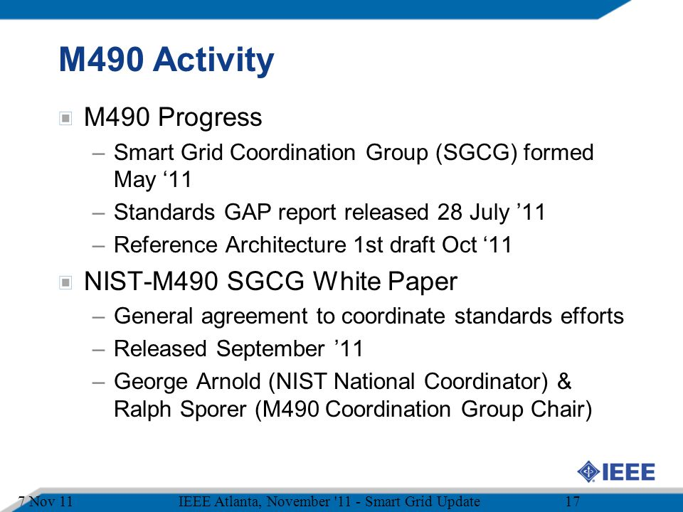 M490 Activity M490 Progress NIST-M490 SGCG White Paper