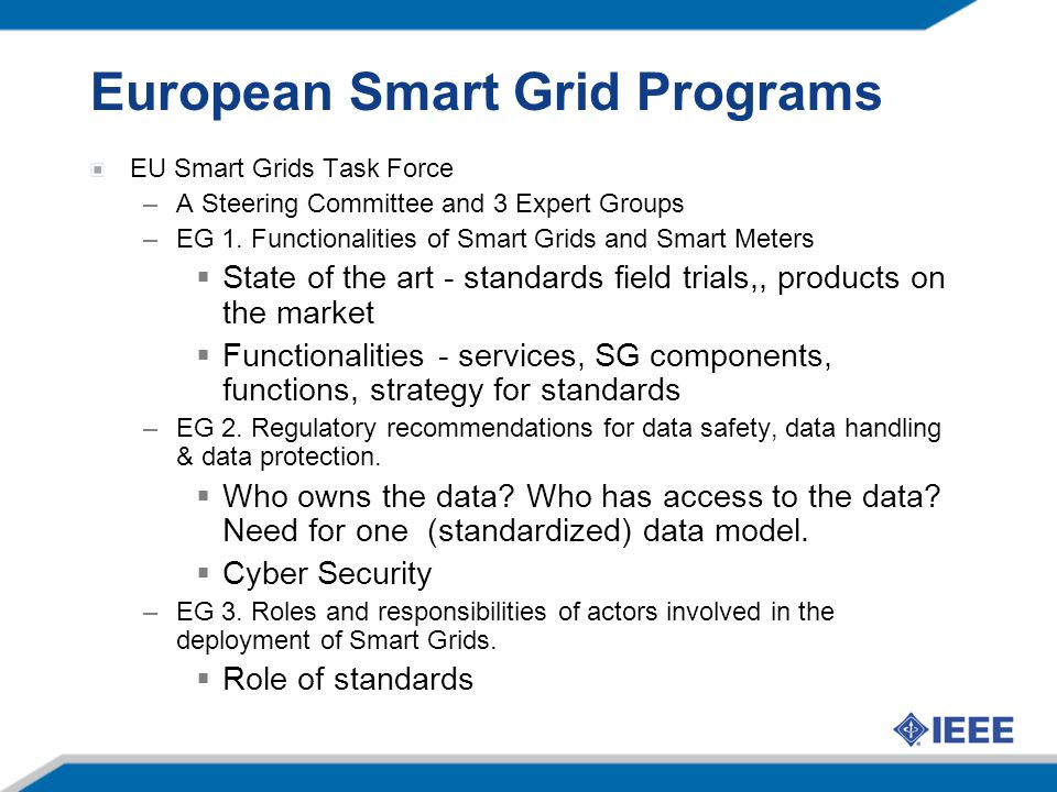 European Smart Grid Programs