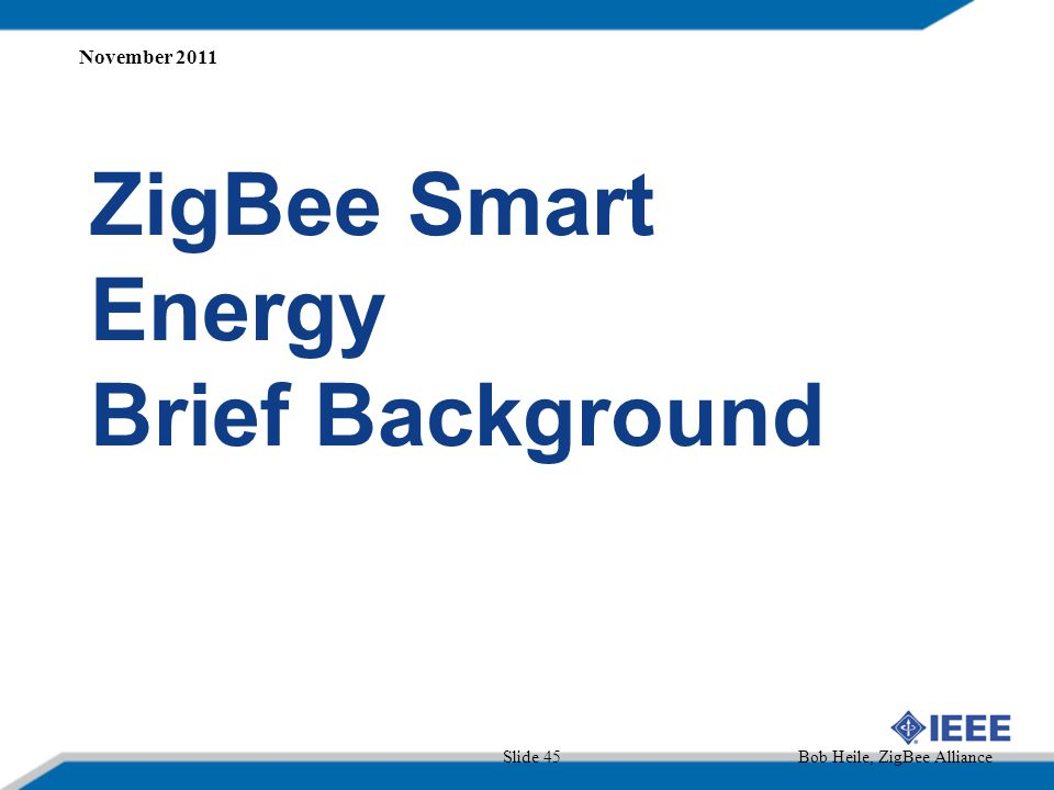 ZigBee Smart Energy Brief Background