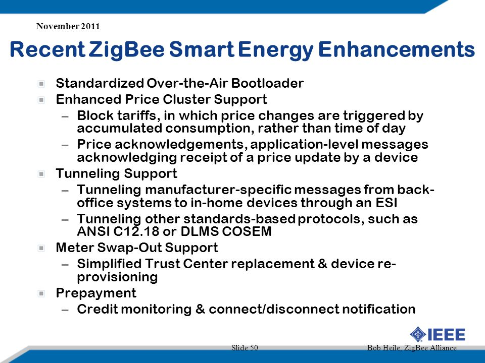 Recent ZigBee Smart Energy Enhancements