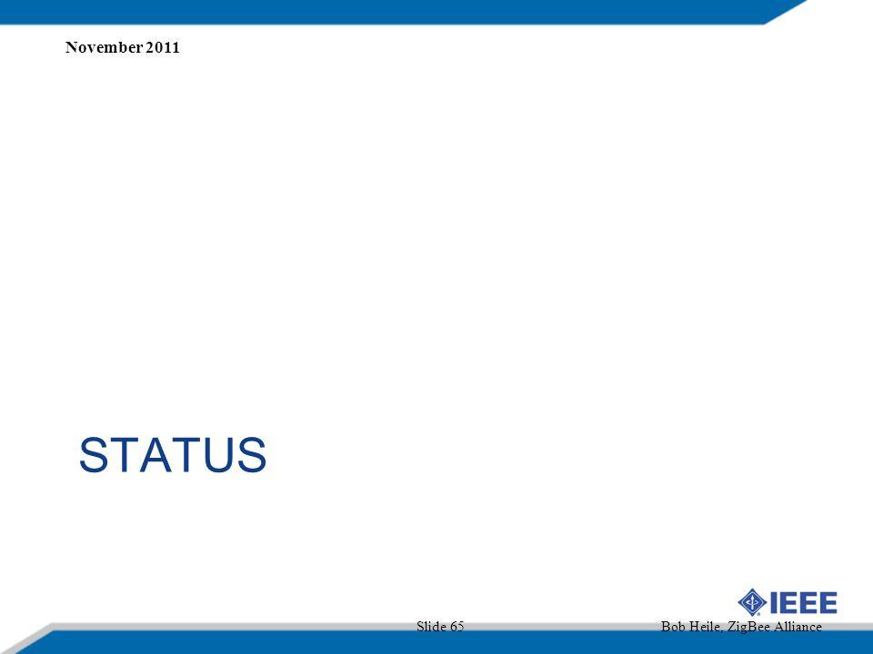 November 2011 STATUS Slide 65 Bob Heile, ZigBee Alliance