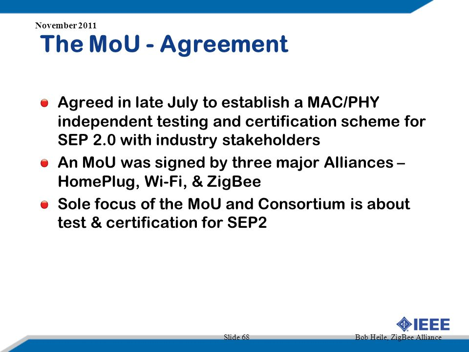 November 2011 The MoU - Agreement.