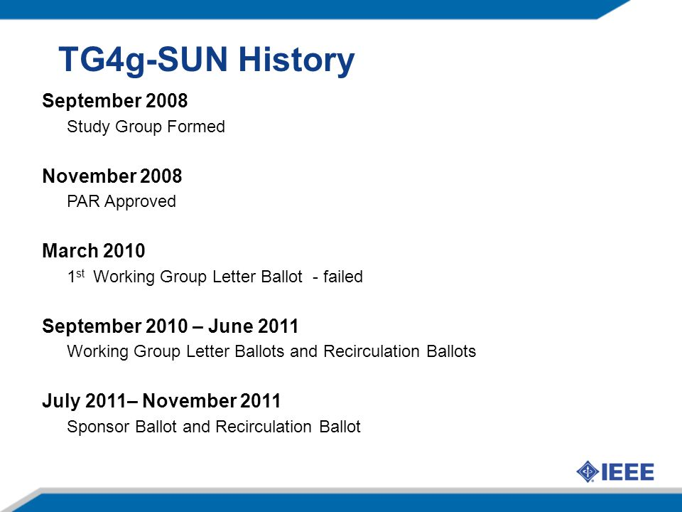 TG4g-SUN History September 2008 November 2008 March 2010