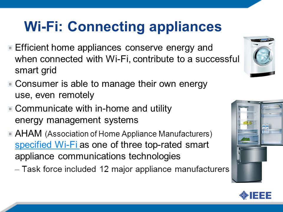 Wi-Fi: Connecting appliances