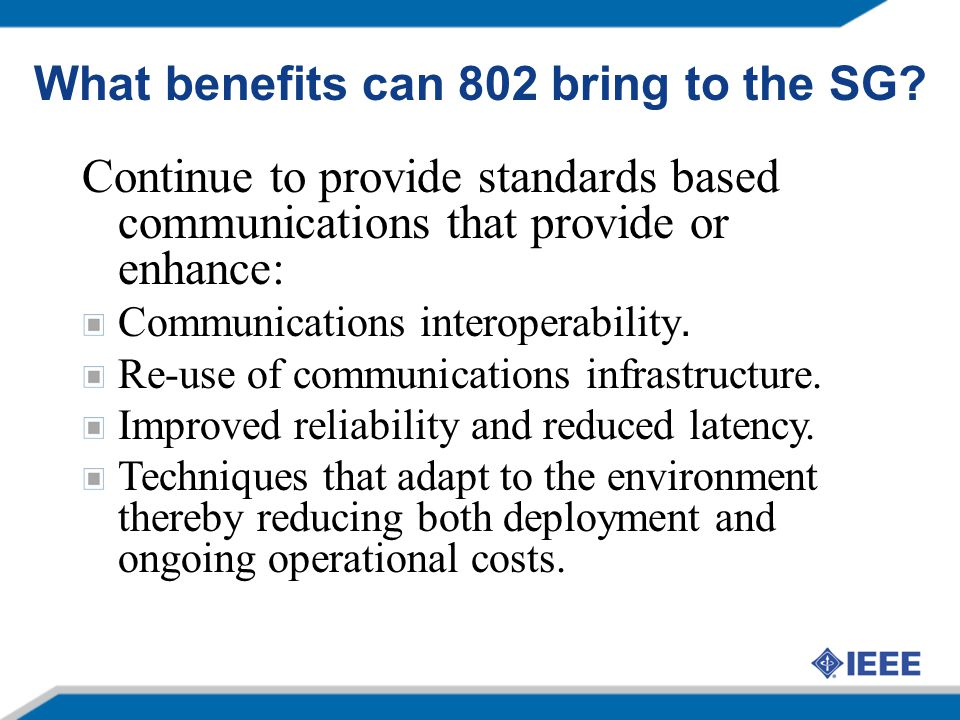 What benefits can 802 bring to the SG
