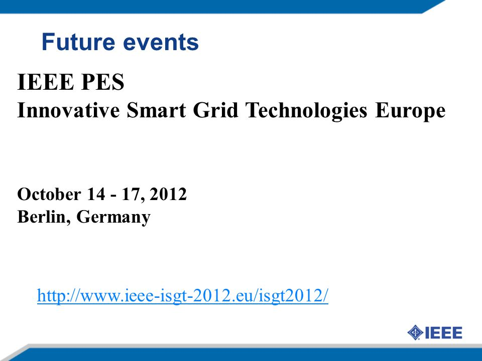 Future events IEEE PES Innovative Smart Grid Technologies Europe