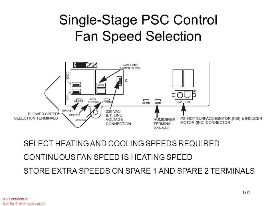 Single-Stage PSC Control Fan Speed Selection