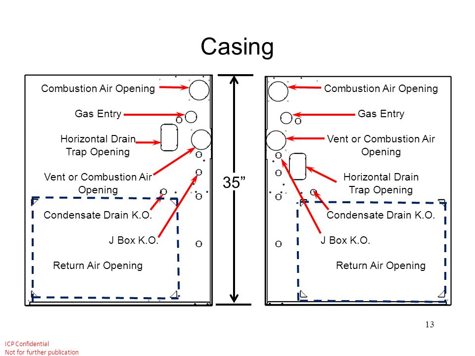 Casing 35 Combustion Air Opening Gas Entry Horizontal Drain
