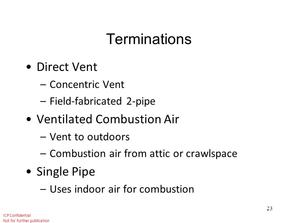 Terminations Direct Vent Ventilated Combustion Air Single Pipe