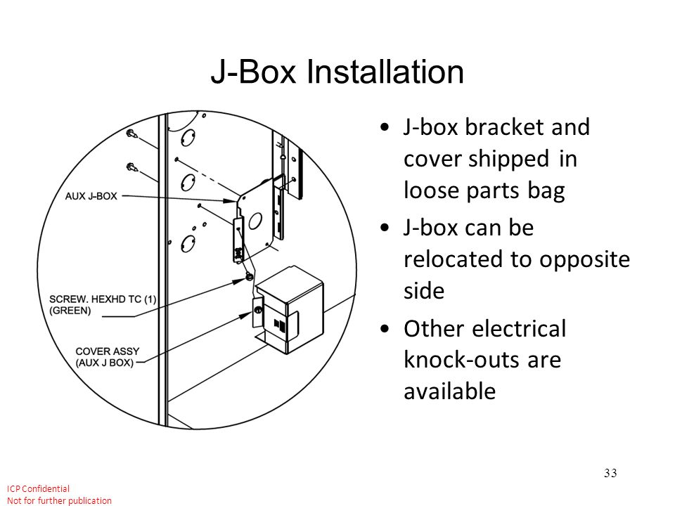 J-Box Installation J-box bracket and cover shipped in loose parts bag