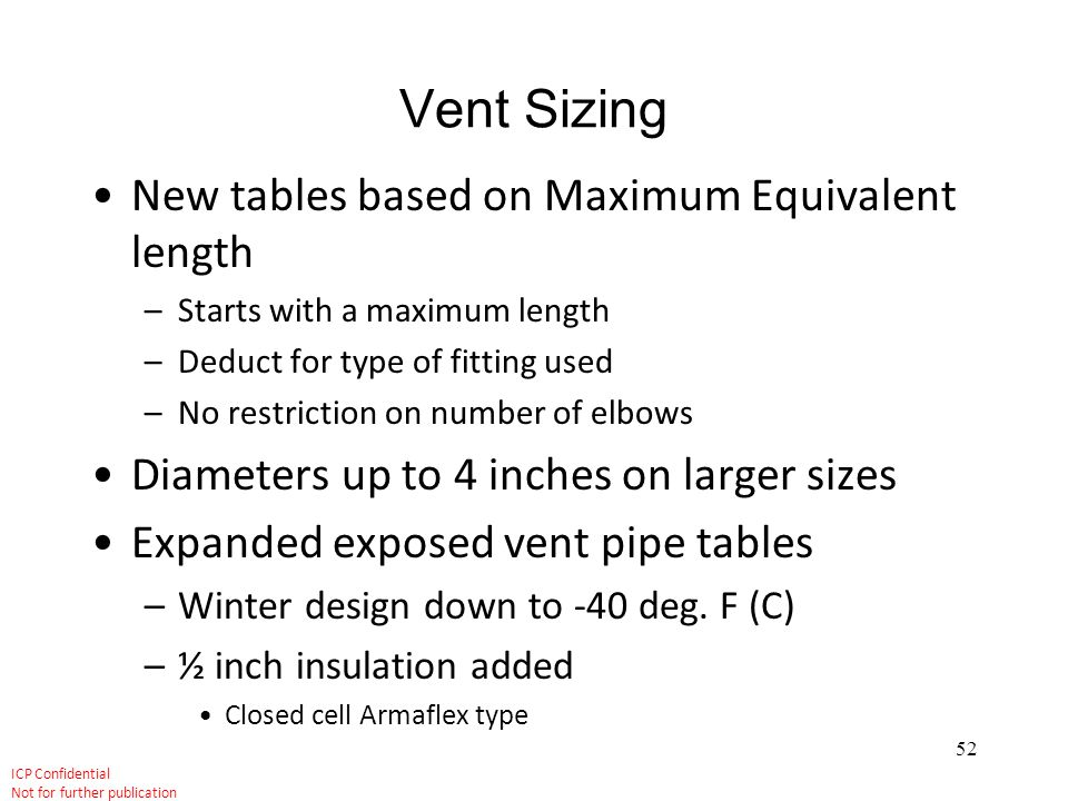 Vent Sizing New tables based on Maximum Equivalent length