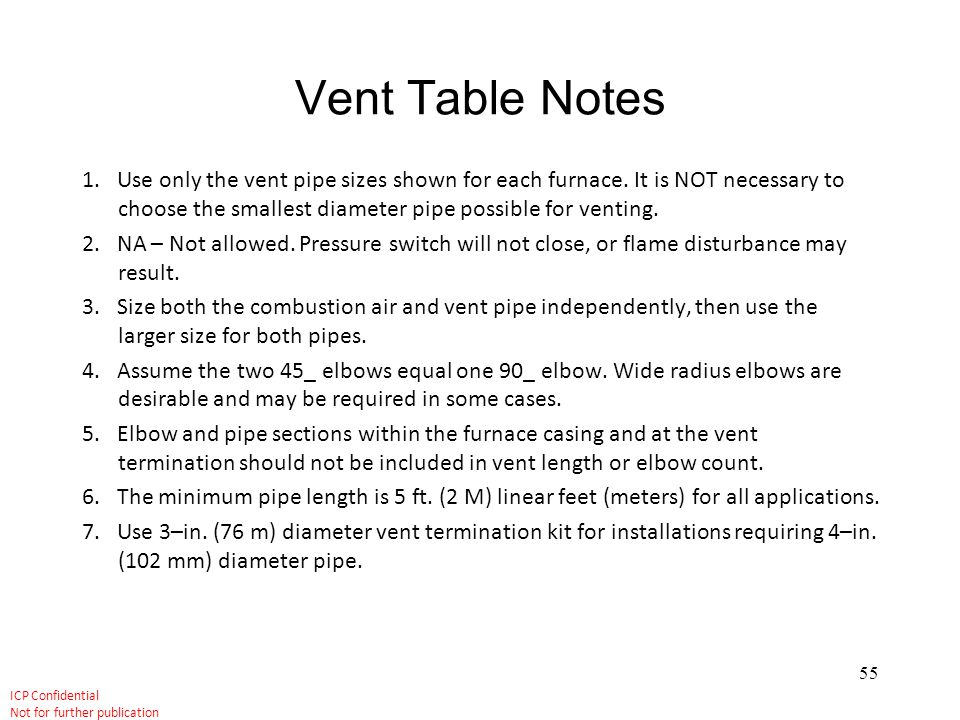 Vent Table Notes