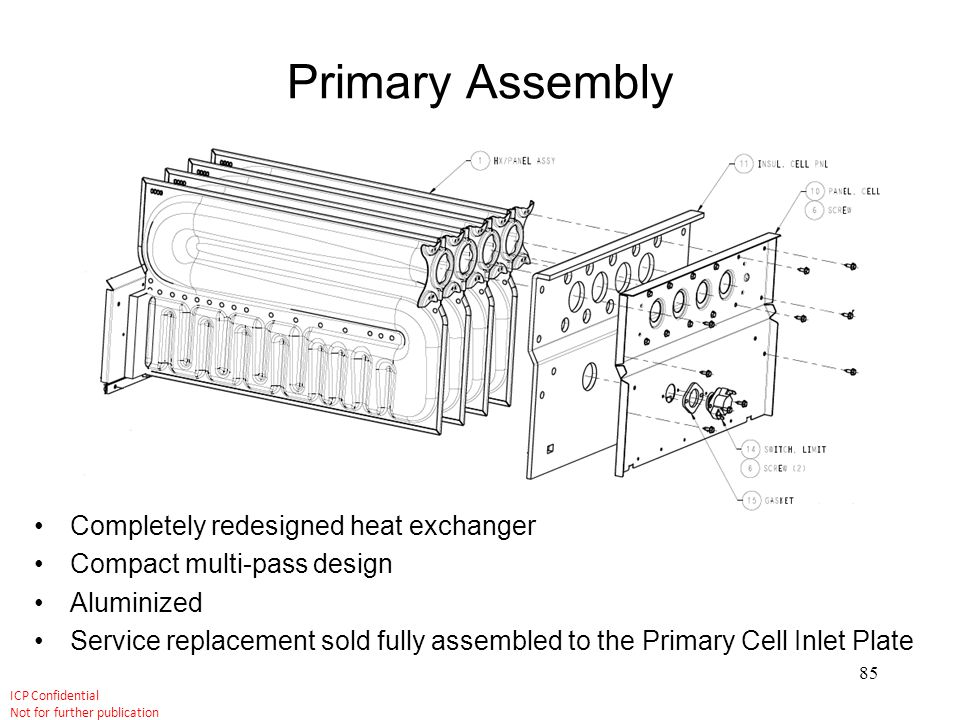 Primary Assembly Completely redesigned heat exchanger
