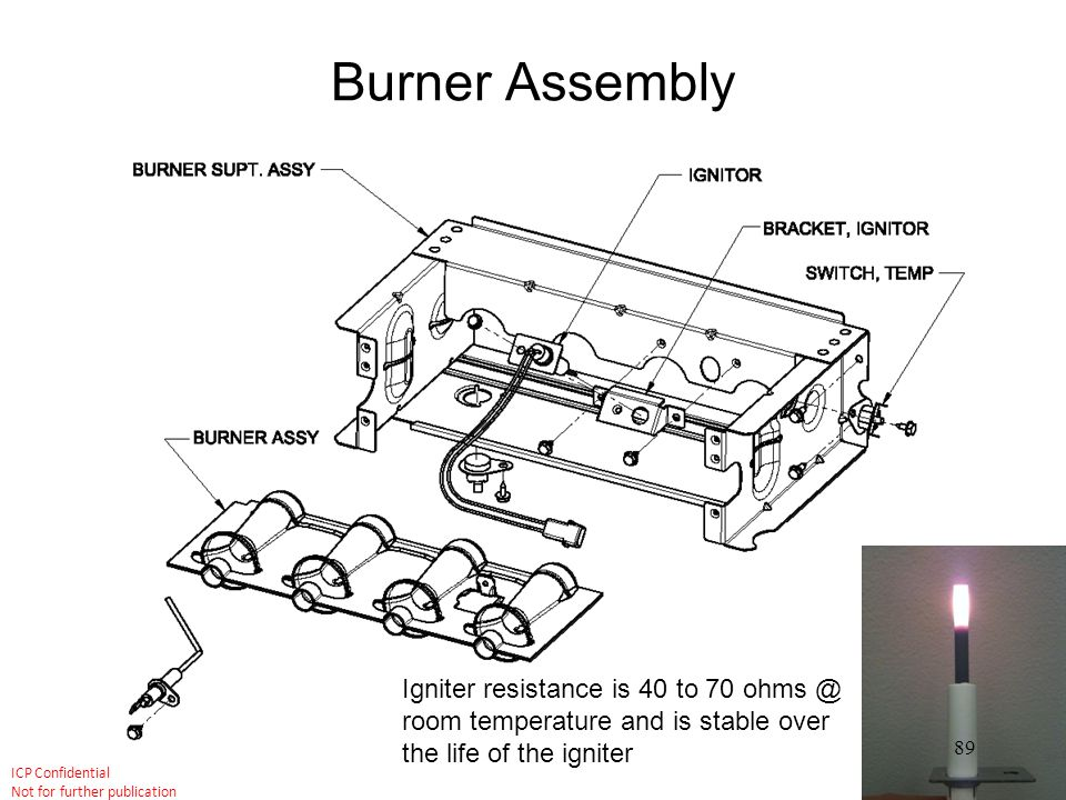 Burner Assembly Igniter resistance is 40 to 70 ohms @ room temperature and is stable over the life of the igniter.