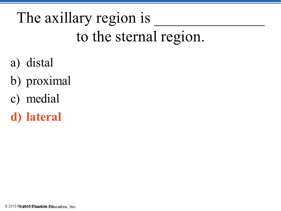 The axillary region is ______________ to the sternal region.