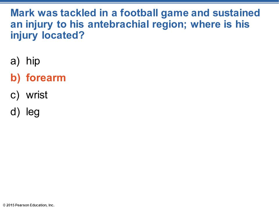 Mark was tackled in a football game and sustained an injury to his antebrachial region; where is his injury located