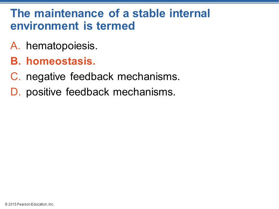 The maintenance of a stable internal environment is termed