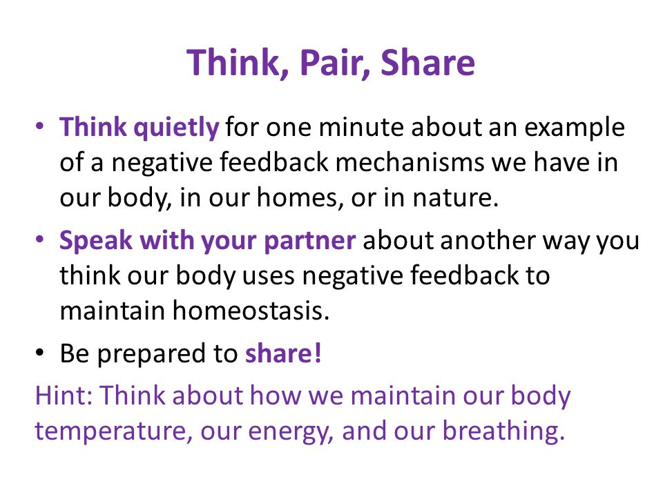 Think, Pair, Share Think quietly for one minute about an example of a negative feedback mechanisms we have in our body, in our homes, or in nature.