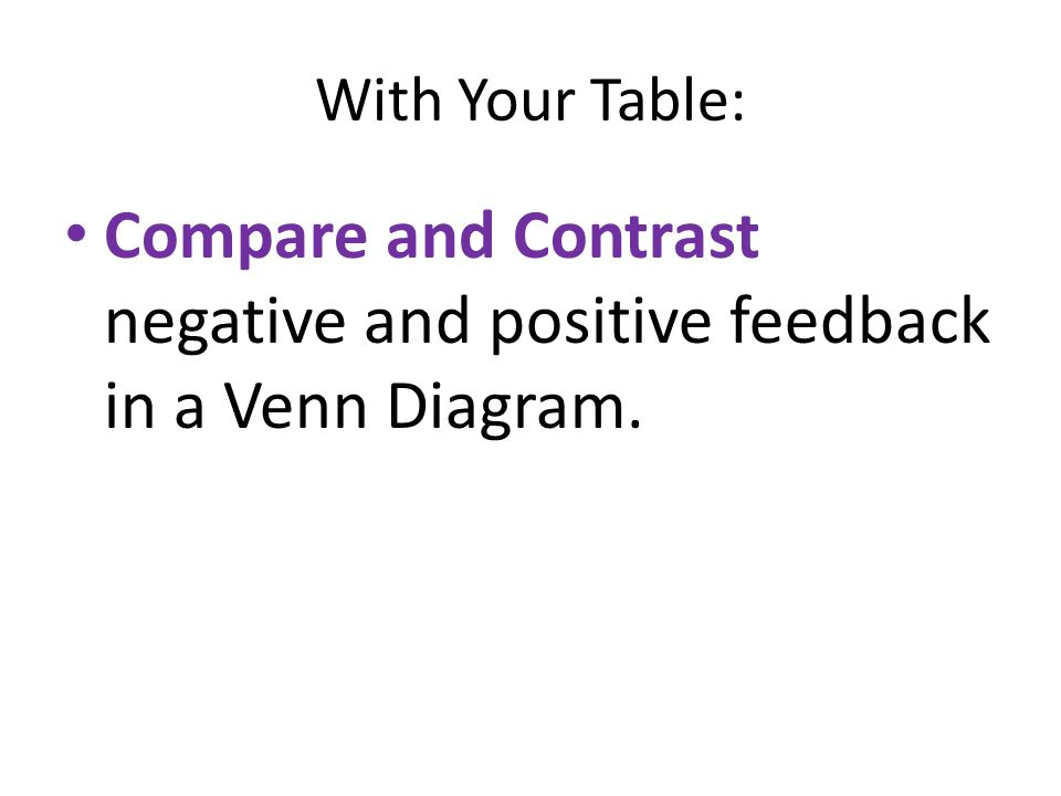 Compare and Contrast negative and positive feedback in a Venn Diagram.