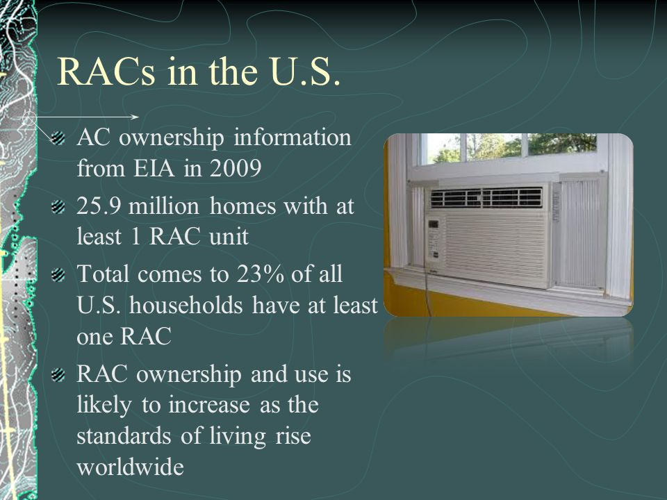 RACs in the U.S. AC ownership information from EIA in 2009