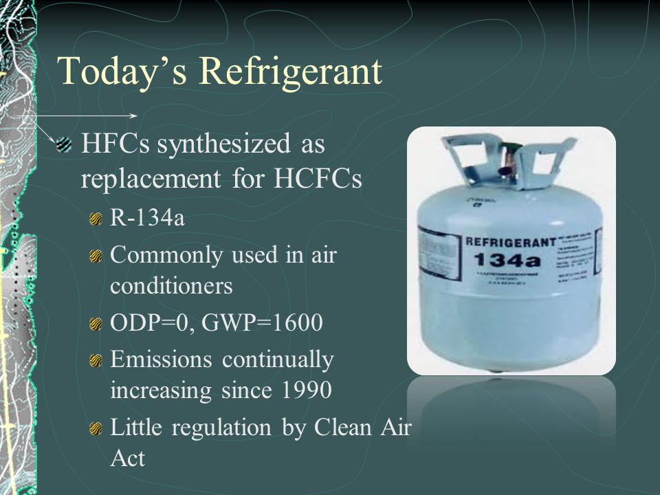 Today's Refrigerant HFCs synthesized as replacement for HCFCs R-134a