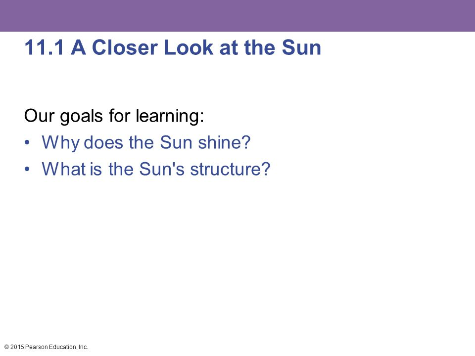 11.1 A Closer Look at the Sun Our goals for learning:
