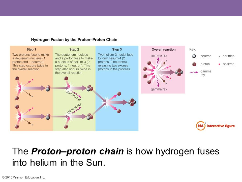 The Proton–proton chain is how hydrogen fuses into helium in the Sun.