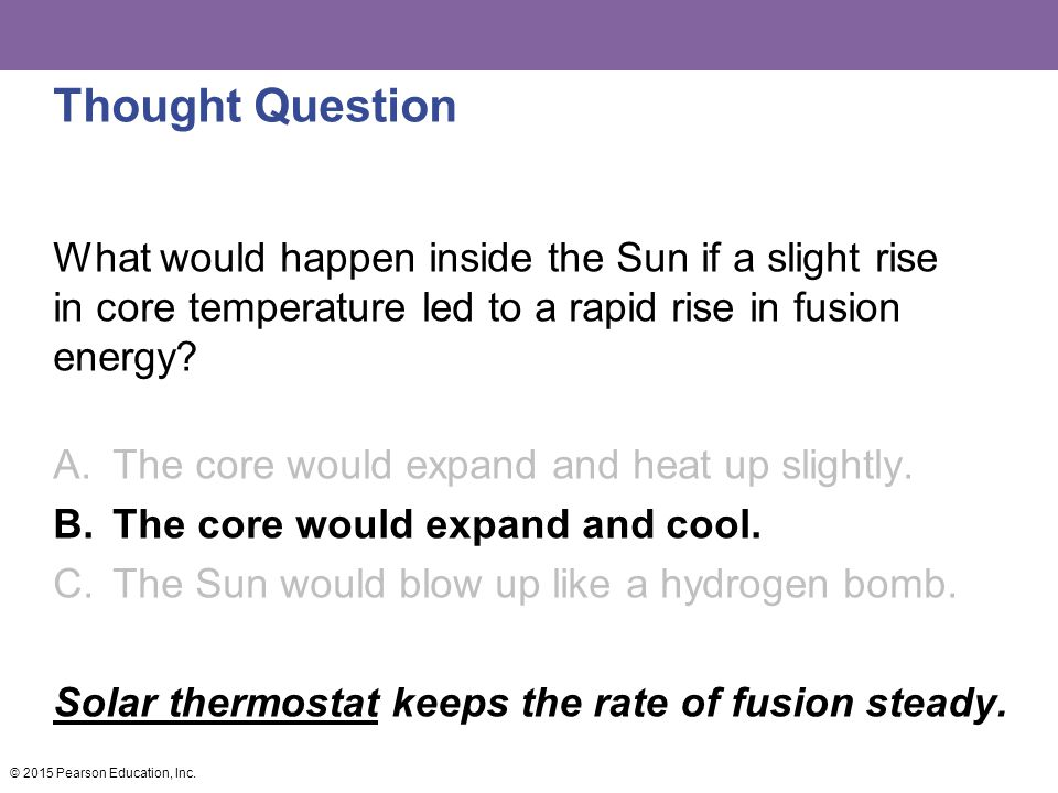 Thought Question What would happen inside the Sun if a slight rise in core temperature led to a rapid rise in fusion energy