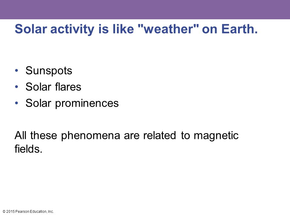 Solar activity is like weather on Earth.