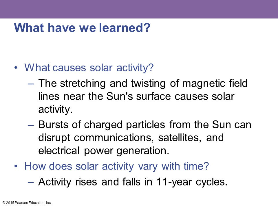 What have we learned What causes solar activity